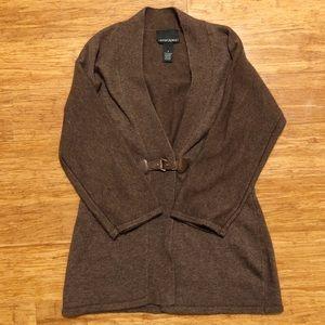 Dark brown cardigan sweater w leather buckle. EUC